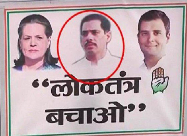 Embattled Congress put Robert Vadra on posters for first time