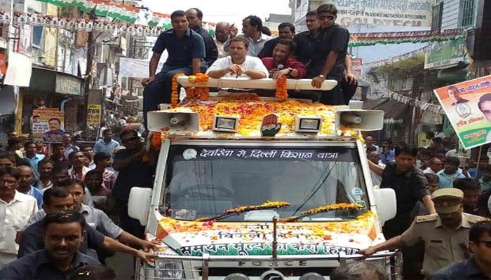 Congress Vice- president Rahul Gandhi road show turns ugly