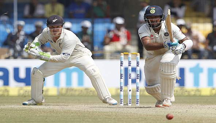 IndvsNZ: Pujaras ton powers India to declare at 216/3