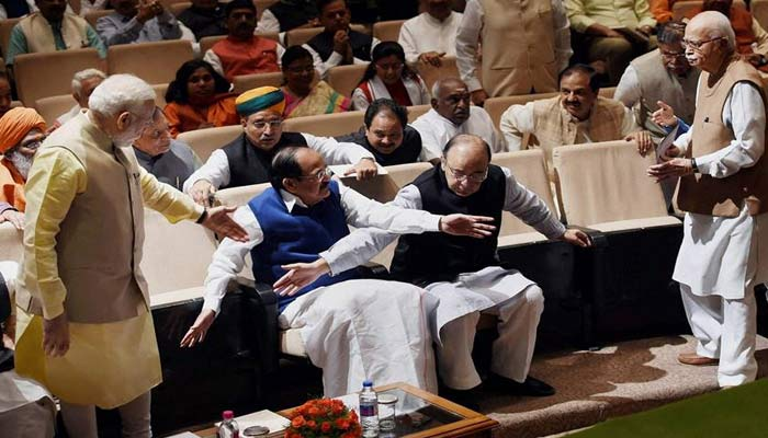 When Modi stood up from his chair to offer seat to Advani