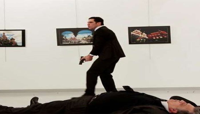 Russian ambassador to Turkey shot dead while delivering speech