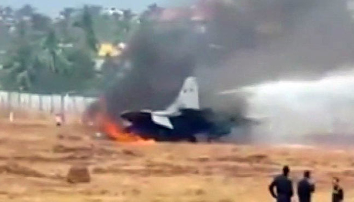 MiG-29K aircraft skids, catches fire in Goa; pilot ejected to safety