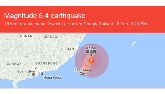 Two killed, 219 injured in Taiwan in a 6.5 magnitude quake
