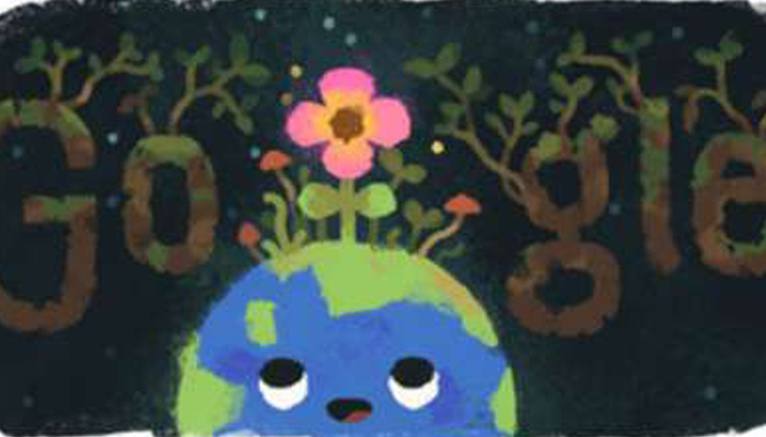 Google celebrates spring equinox with a special bloomed earth doodle