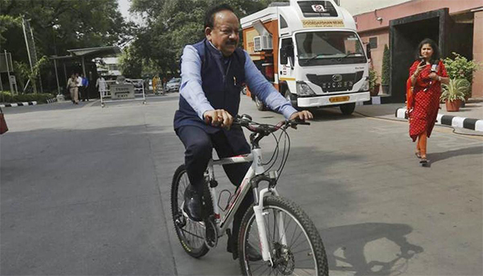 Harsh Vardhan Cycles To Work On Day One As Health Minister