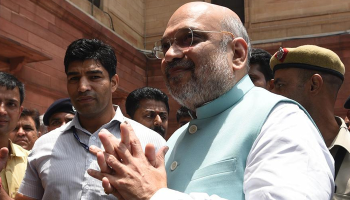 Newly elected Home Minister, Amit Shah visits National Police Memorial