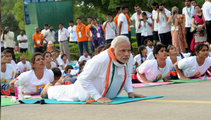 Check out this cartoon character performing yoga with PM Modi