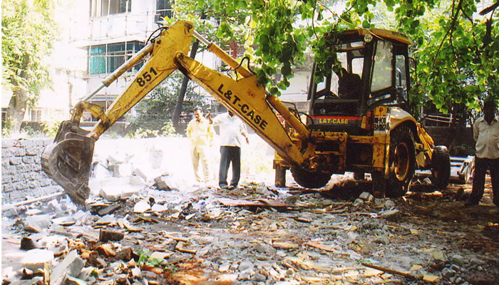 Illegal constructions of land mafia demolished by authorities in Indore
