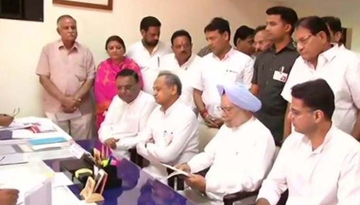 Manmohan Singh files RS nomination papers from Rajasthan