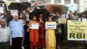 PMC Bank depositors hold protest outside RBI headquarters