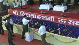 RSS chief performs 'shastra' puja at Dussehra event