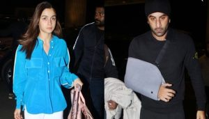Alia Bhatt joins an injured Ranbir Kapoor at the Mumbai airport as they head out of the city