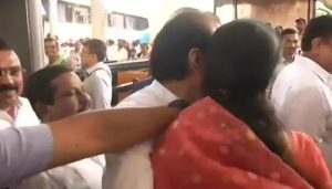 Sule greets cousin Ajit Pawar with a hug before Maha session
