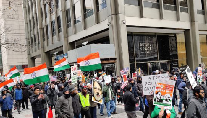 Anti-CAA protests by large number of Indian Americans mar R Day celebrations in US