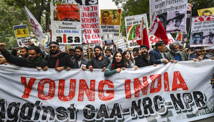 Students protest at Mandi House against CAA, NRC