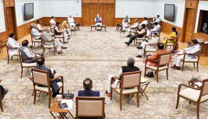 Social distancing at Union Cabinet meeting