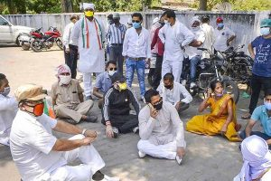 UP Congress Chief Ajay Lallu and party workers arrested during protest
