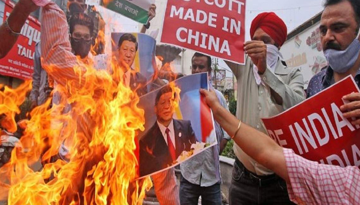 Sino-India border tension: Traders hold protest in Delhi, burn Chinese goods
