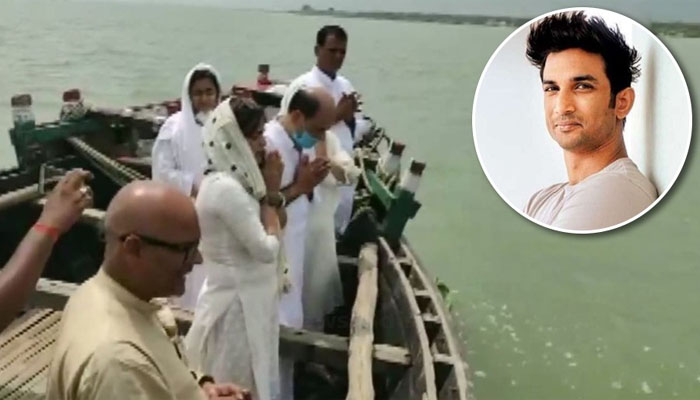 Immersing ashes in Ganges, Family bids emotional adieu to Sushant