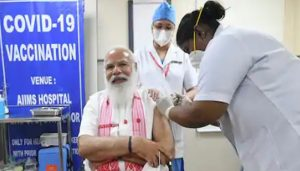 PM Narendra Modi takes first dose of Corona Vaccine