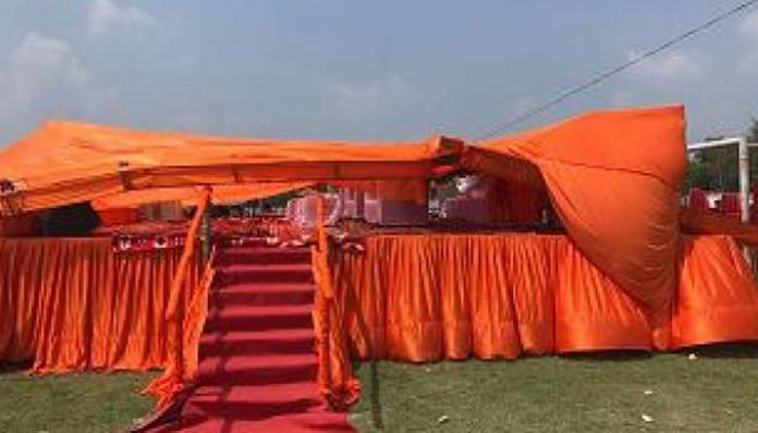 UP minister, four officials injured in stage collapse