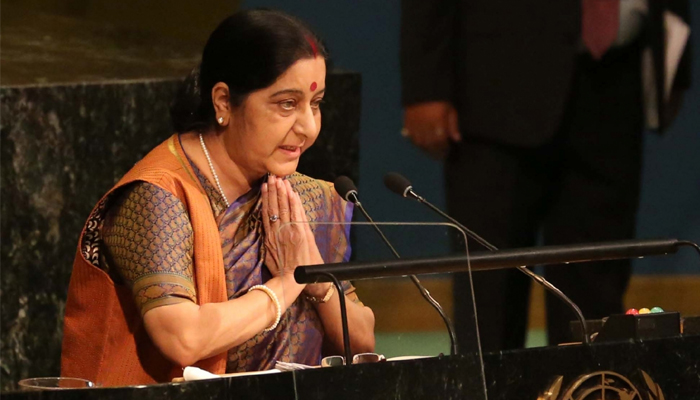 Sushma Swaraj cheered as she speaks in Hindi at General Assembly