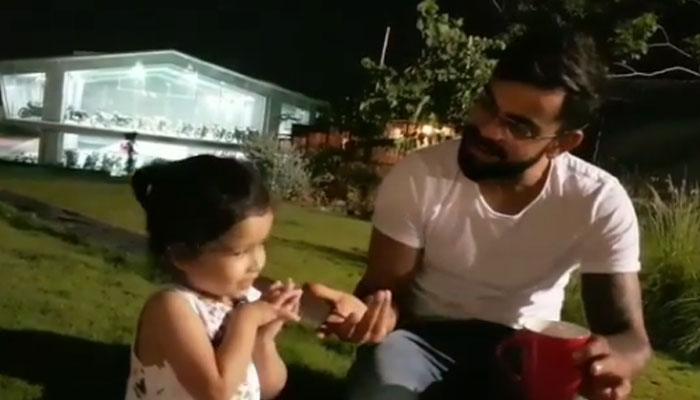 Awwww moment! Ziva Dhoni keeps guessing while Virat mimics a cat