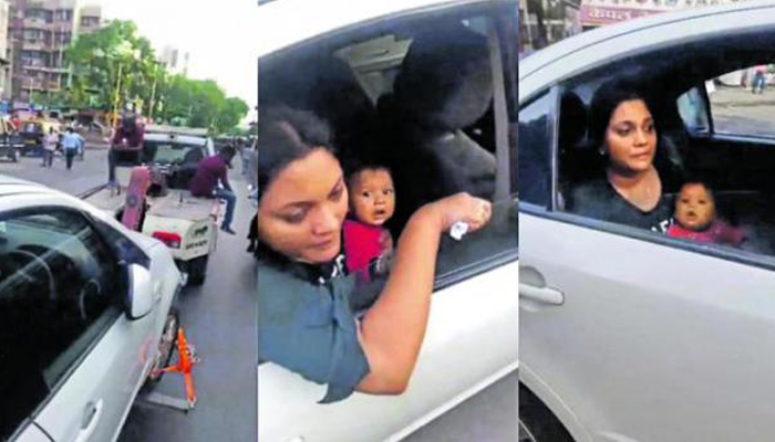 Mumbai cop suspended for towing car with woman breastfeeding infant