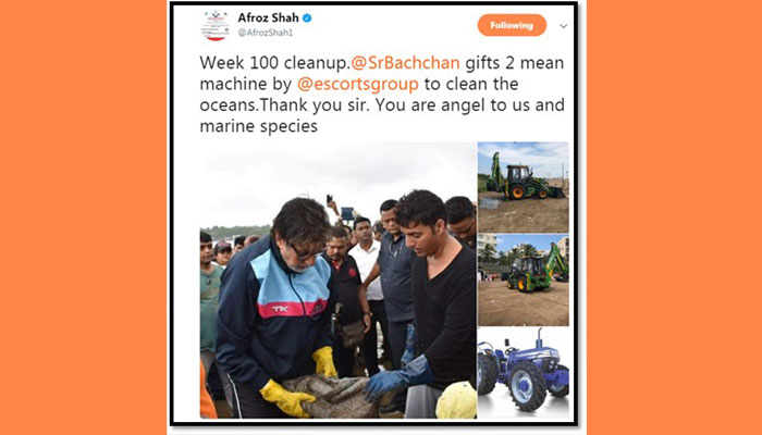 Amitabh Bachchan gifts tractor, excavator for cleaning beach