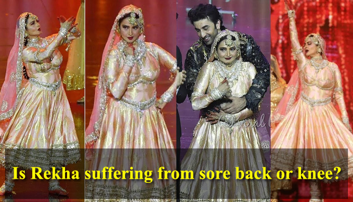 Rekha suffering from a sore back or knee