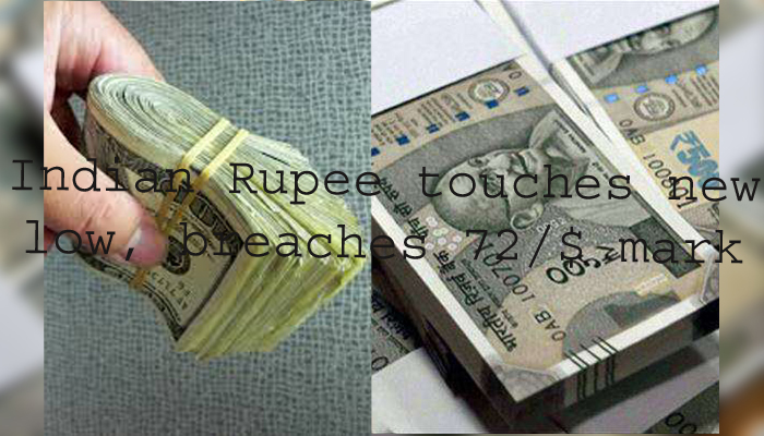 Indian Rupee touches new low, breaches 72/$ mark