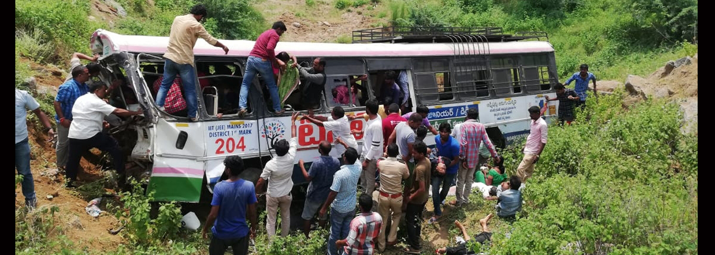 40 killed as bus falls into gorge in Telangana