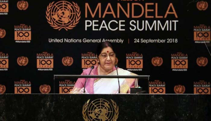 Mandela should be our moral compass, says Sushma